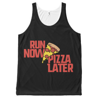 Run now pizza later All-Over print tank top