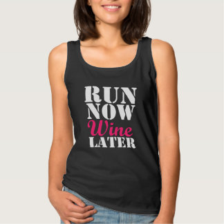 Run Now Wine Later funny runner marathon Singlet