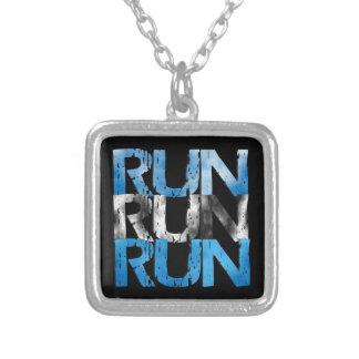Run Run Run Runners Running Square Pendant Necklace