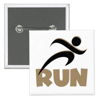 RUN Tan Pinback Button