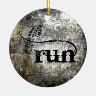 Run w/Shoe Grunge by Vetro Jewelry & Designs Round Ceramic Decoration