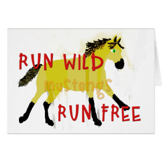RUN WILD MUSTANGS- Whimsical Horse Collection Card