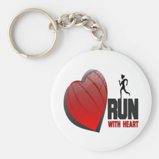 RUN WITH HEART PRODUCTS BASIC ROUND BUTTON KEY RING