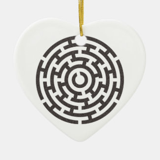 rundes Labyrinth round maze Ceramic Heart Decoration