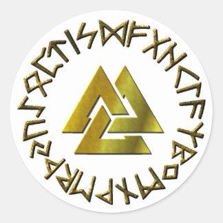 Rune Circle with Volknot Classic Round Sticker