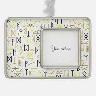 Runes Silver Plated Framed Ornament