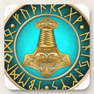 Runes - Thors Hammer - Teal Coaster