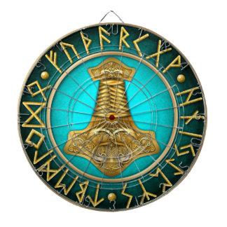 Runes - Thors Hammer - Teal Dartboard