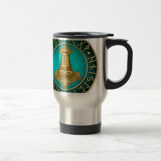 Runes - Thors Hammer - Teal Travel Mug