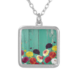 Runinculus and green fence silver plated necklace