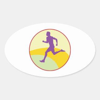 Runner Circle Oval Sticker