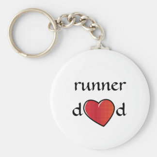 Runner Dad Red Heart Design Key Ring