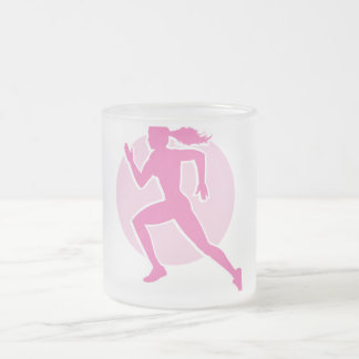 runner frosted glass coffee mug