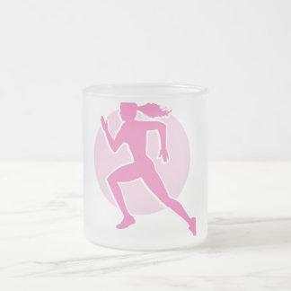 runner frosted glass mug