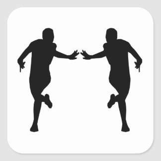 Runner Mirror Image Square Stickers