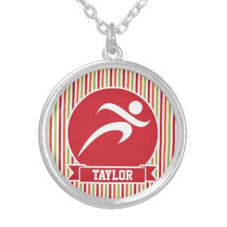 Runner, Running; Red, Green, Orange Stripes Necklaces