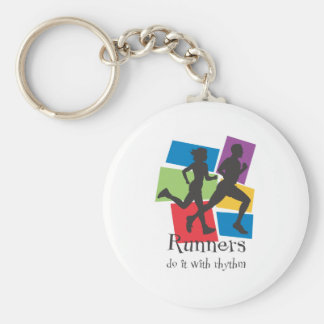 Runners Do It with Rhythm Basic Round Button Key Ring