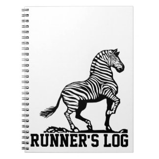 Runner's Log: Simple Black & White Zebra Notebook