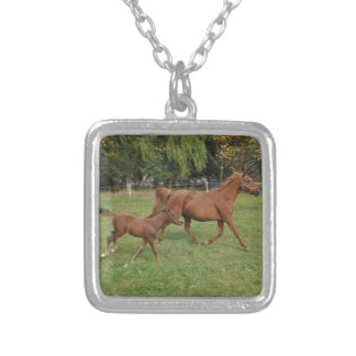 Running Arabian Horses - Mom and Foal Silver Plated Necklace