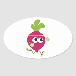 Running Beet Oval Sticker