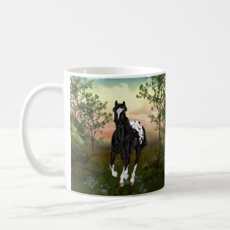Running Black Appaloosa Horse Coffee Mug