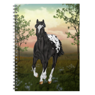 Running Black Appaloosa Horse Spiral Notebook
