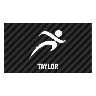 Running; Black & Dark Gray Stripes Double-Sided Standard Business Cards (Pack Of 100)