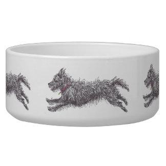 Running Black Scruffy Terrier Dog Bowl