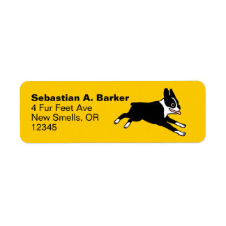 Running Boston Terrier Return Address Label