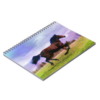 Running Brown Horse Pony Foal Western Equestrian Notebook