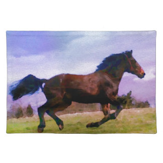 Running Brown Horse Pony Foal Western Equestrian Placemat