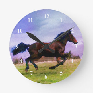 Running Brown Horse Pony Foal Western Watercolor Round Clock