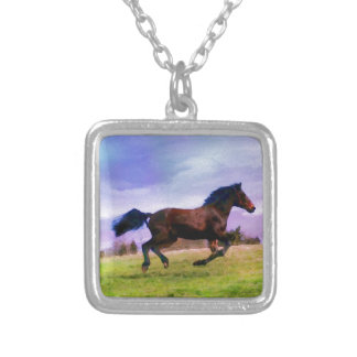 Running Brown Horse Pony Foal Western Watercolor Silver Plated Necklace