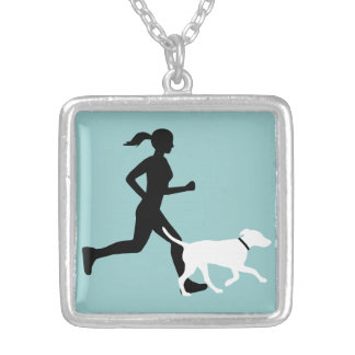 running buddy aq/bk/wt silver plated necklace