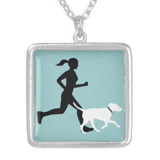 running buddy aq/bk/wt square pendant necklace