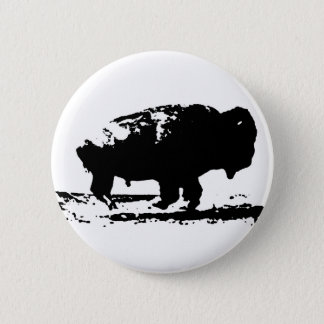 Running Buffalo Bison Pop Art 6 Cm Round Badge
