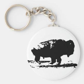 Running Buffalo Bison Pop Art Basic Round Button Key Ring