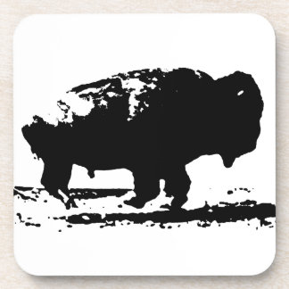 Running Buffalo Bison Pop Art Coaster