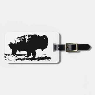 Running Buffalo Bison Pop Art Luggage Tag