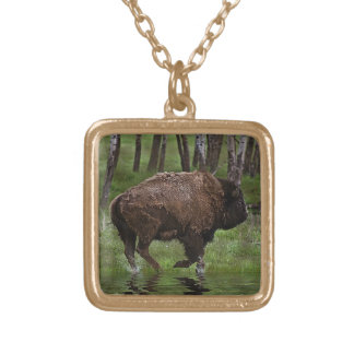 Running Buffalo & Forest, Bison-lover's Design Gold Plated Necklace