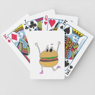 running burger bicycle playing cards