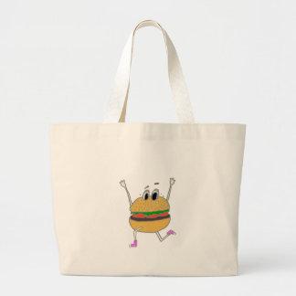 running burger large tote bag