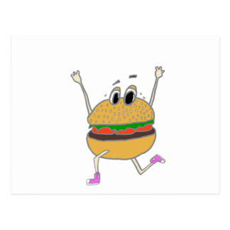 running burger postcard