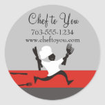 Running chef fork knives gift tag labels