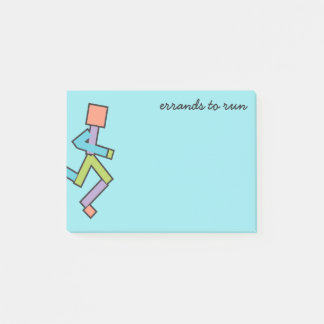 Running Colorful Funny Runner Text Template Post-it Notes