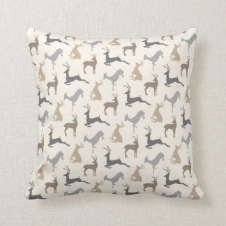 Running Deer and Buck Pattern in Brown Neutrals Cushion