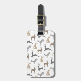 Running Deer and Buck Pattern in Browns Luggage Tag