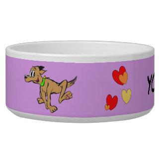 Running Dog Cartoon Cust. Photo Pet Bowl