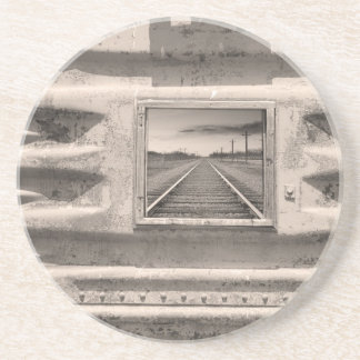 Running Down The Line Sepia Beverage Coaster