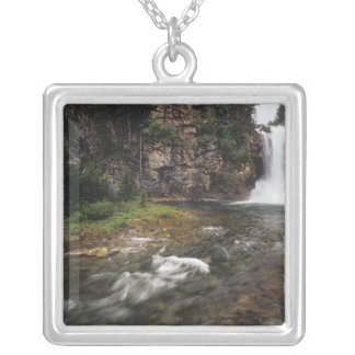 Running Eagle Falls aka Trick Falls in the Two Square Pendant Necklace